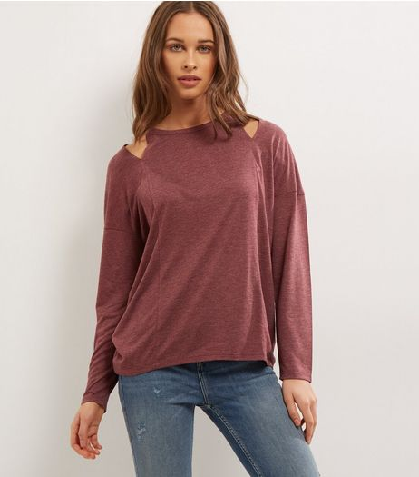 Burgundy Cut Out Long Sleeve Dip Hem Top | New Look