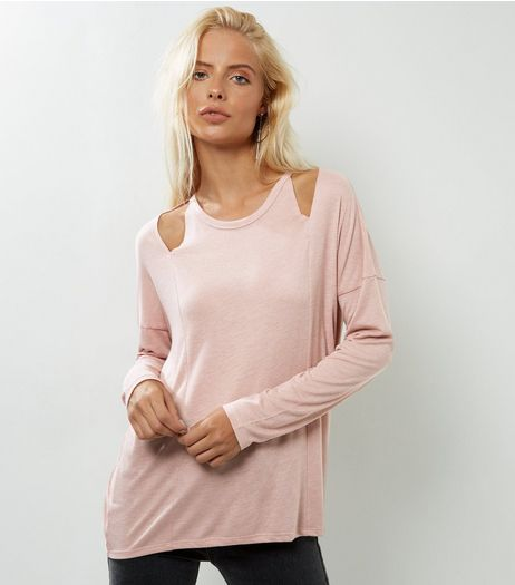 Pink Cut Out Shoulder Long Sleeve Top | New Look