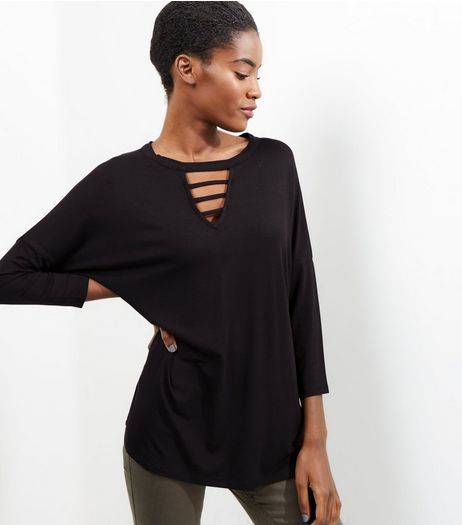 Black Strap Front 3/4 Sleeve Top | New Look