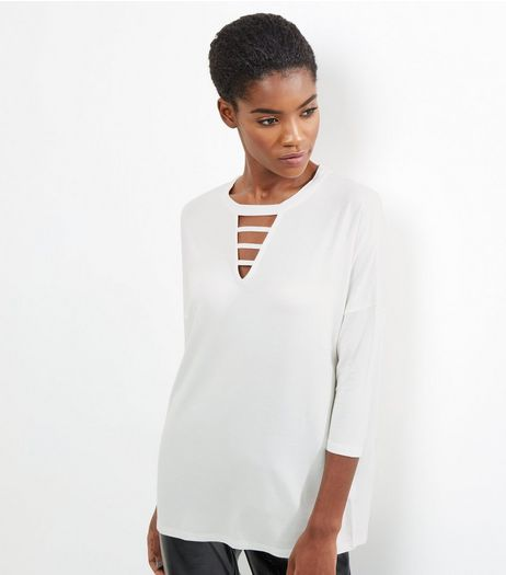 Cream Strap Front 3/4 Sleeve Top | New Look
