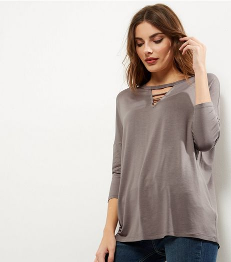 Mink Strap Front 3/4 Sleeve Top | New Look