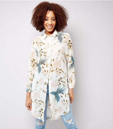 White Floral Print Chiffon Longline Shirt | New Look