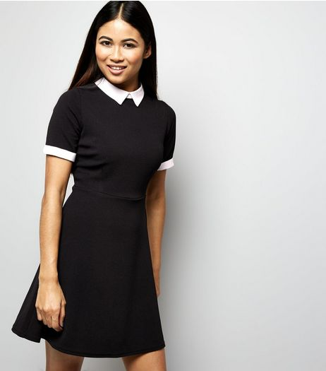 Petite Black Contrast Collar Tunic Dress | New Look