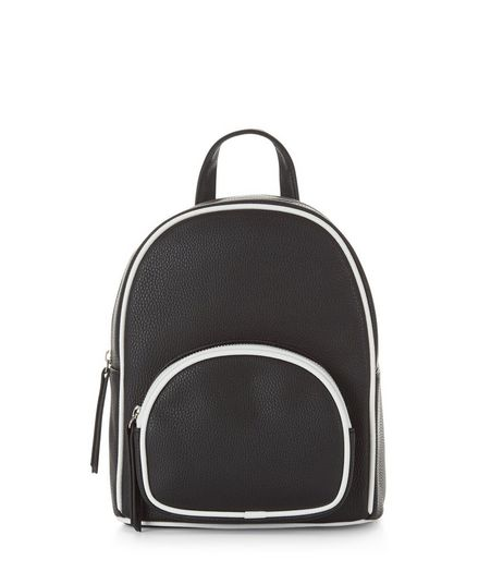 Black Contrast Trim Mini Backpack | New Look