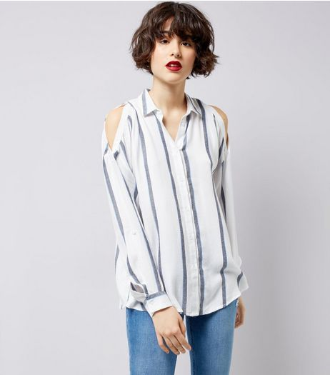 White Stripe Cold Shoulder Shirt | New Look