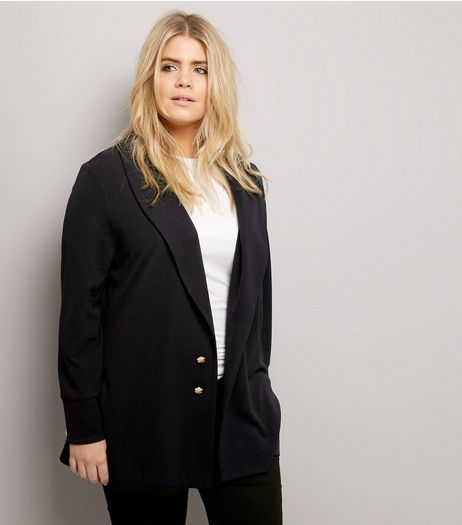 Curves Black Crepe Button Front Longline Blazer | New Look