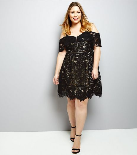 Curves Black Premuim Lace Cold Shoulder Mini Skater Dress | New Look