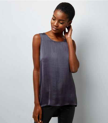 Dark Grey Satin Vest  | New Look