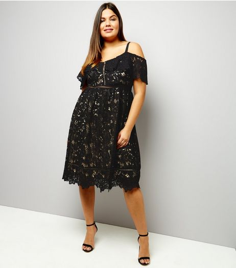 Curves Black Premium Lace Cold Shoulder Midi Skater Dress | New Look