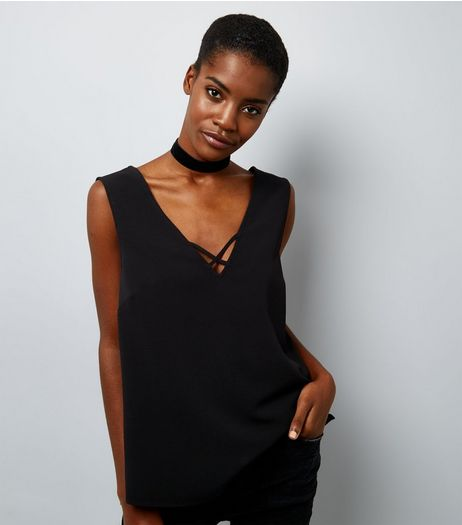Black Double Strap Front Sleeveless Top  | New Look