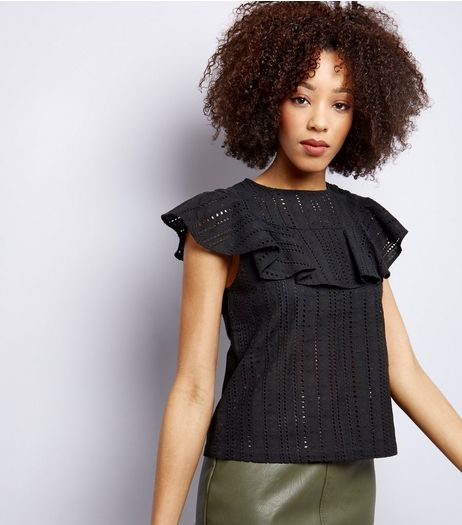 Black Cut Out Frill Trim Short Sleeve Top  | New Look