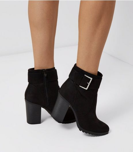 Black Suedette Buckle Side Cleated Heeled Boots | New Look