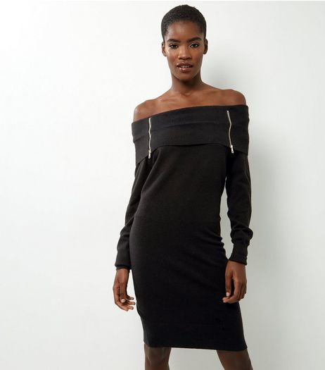 Apricot Black Zip Detail Bardot Dress | New Look