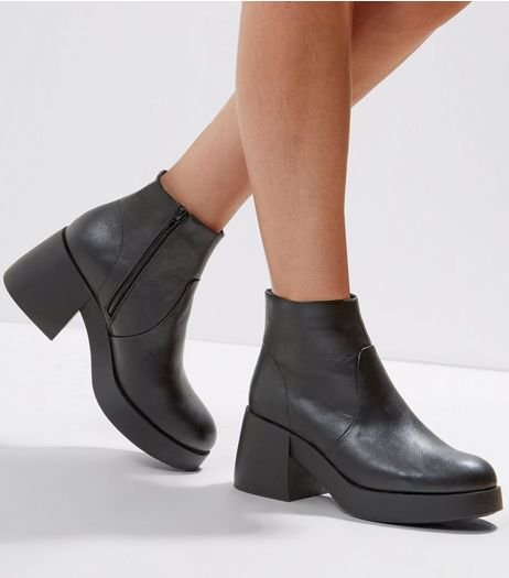 Black Chunky Ankle Boots | New Look