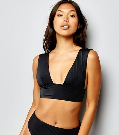 Black Plunge Crop Bikini Top | New Look