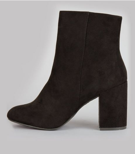 Black Suedette High Block Heeled Boots | New Look