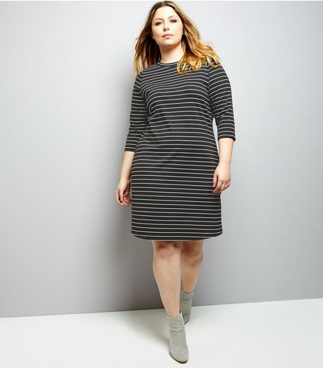 Curves Black Stripe 3/4 Sleeve Swing Dress | New Look