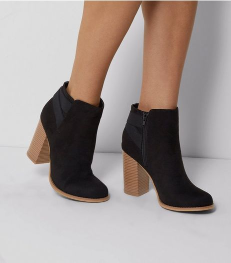 Black Suedette Elasticated Strap Contrast Heel Boots | New Look