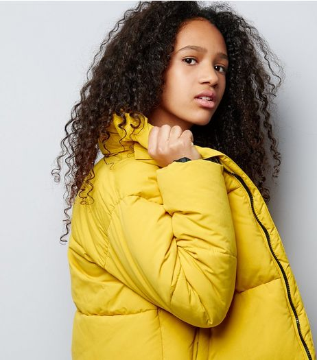 Teens Yellow Cropped Puffer Jacket | New Look