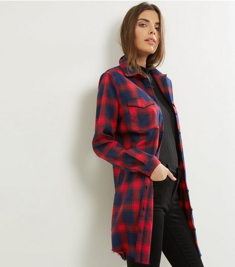 Cameo Rose Red Check Fray Hem Shirt  | New Look
