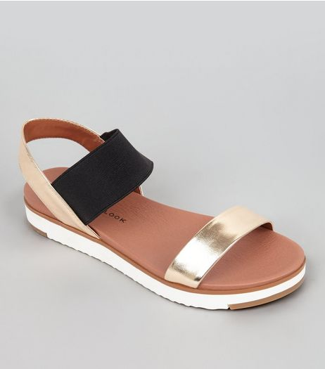 Teens Gold Elasticated Strap Sandals  | New Look