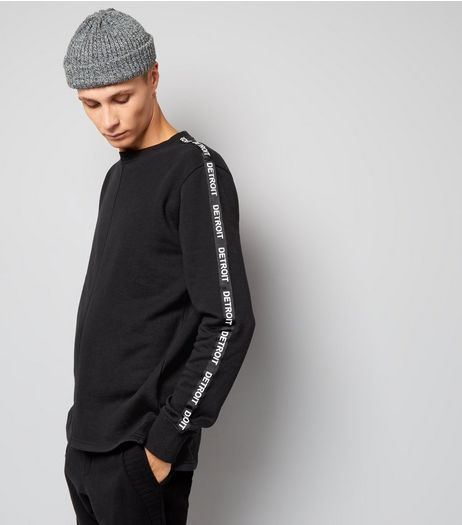Black Detroit Tape Sleeve Sweater | New Look