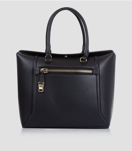 Black Fold Top Tote Bag | New Look