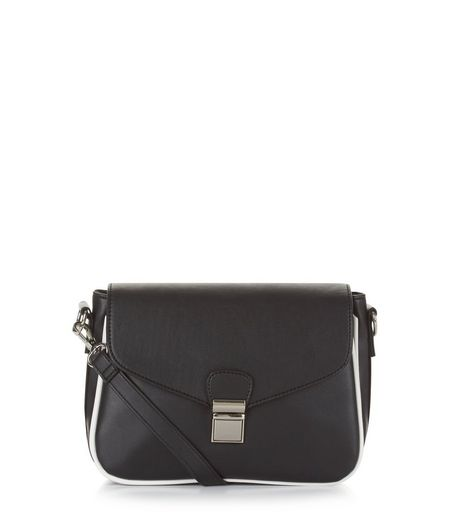 Black Contrast Trim Shoulder Bag | New Look