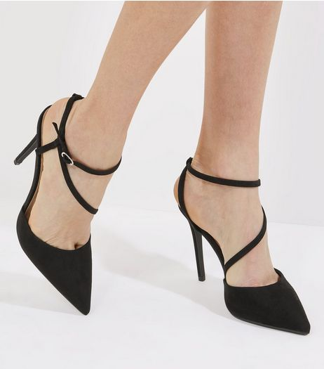 Black Suedette Asymmetric Strap Pointed Heels | New Look