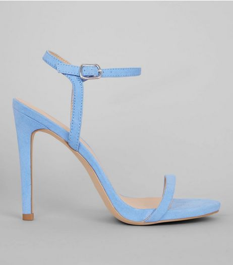Pale Blue Suedette Ankle Strap Heeled Sandals | New Look