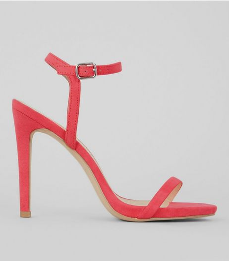 Pink Suedette Ankle Strap Heeled Sandals | New Look