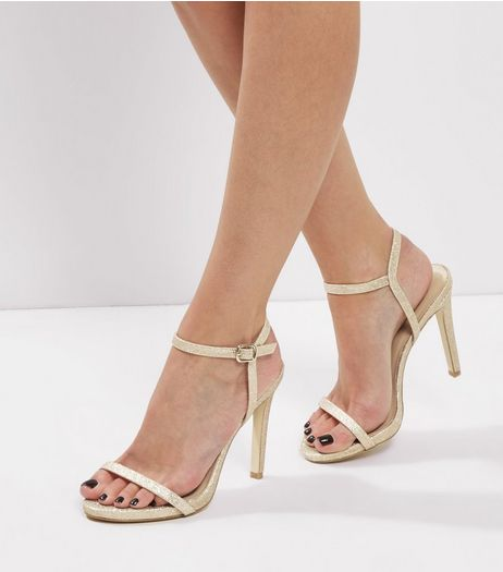 Gold Glitter Ankle Strap Heeled Sandals | New Look