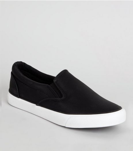 Black Snakeskin Textured Slip On Trainers  | New Look