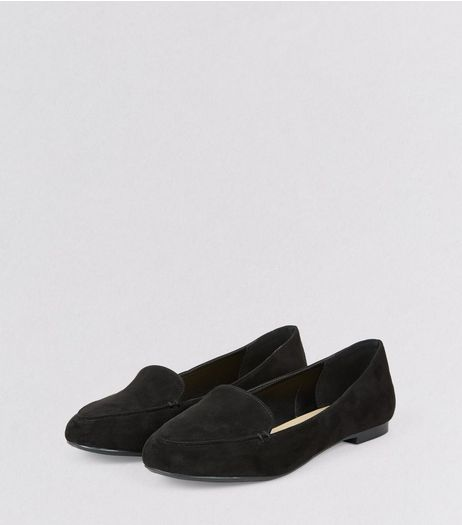 Black Suedette Tab Slippers | New Look