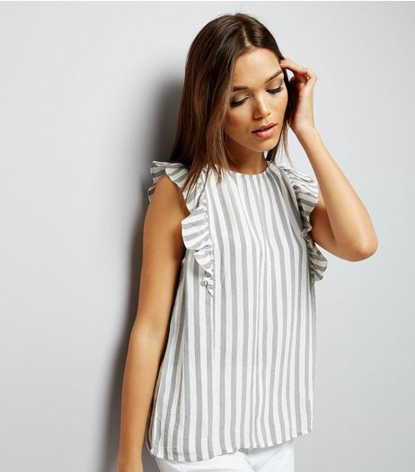 White Stripe Frill Trim Sleeveless Top  | New Look