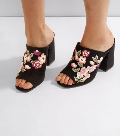 Wide Fit Black Floral Embroidered Heeled Mules | New Look