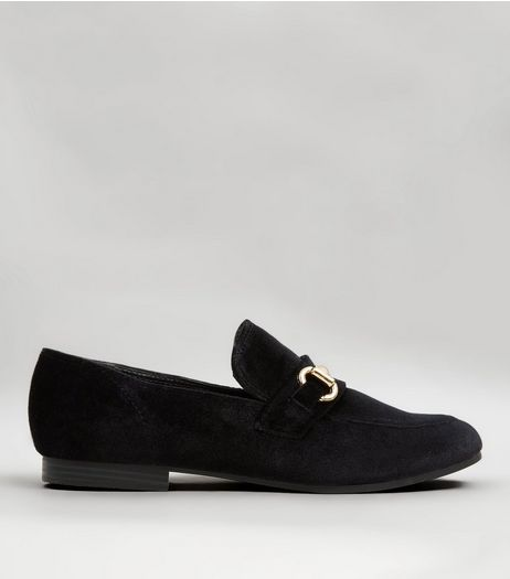 Black Velvet Metal Bar Loafers | New Look