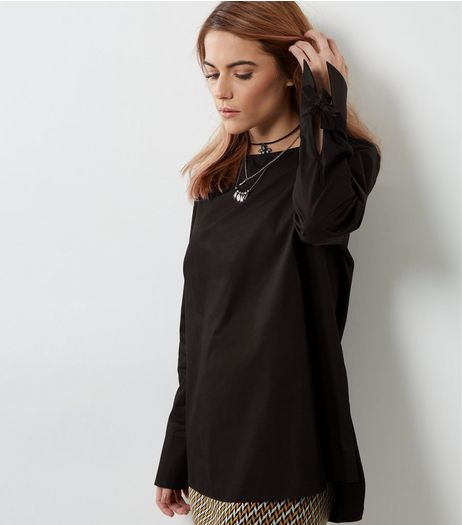 Black Tie Cuff Step Hem Top  | New Look