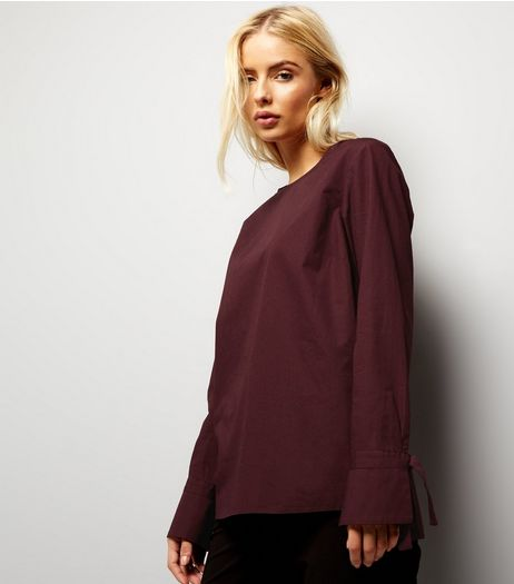 Burgundy Tie Sleeve Top  | New Look