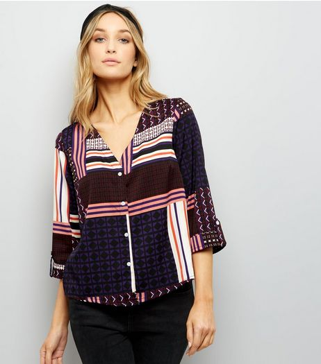 Purple Abstract Print Cropped Shirt | New Look