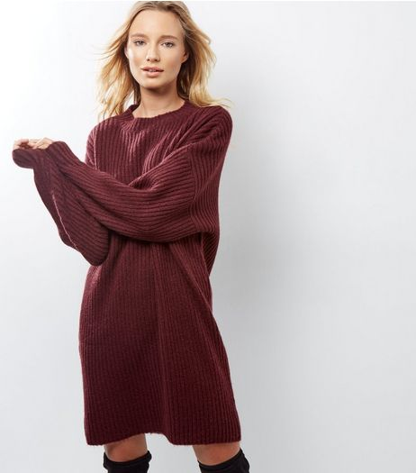 Burgundy Balloon Sleeve Jumper Dress | New Look