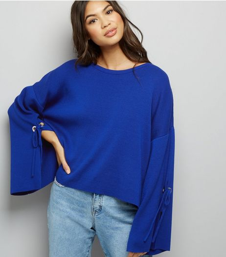Blue Wide Split Sleeve Jumper  | New Look