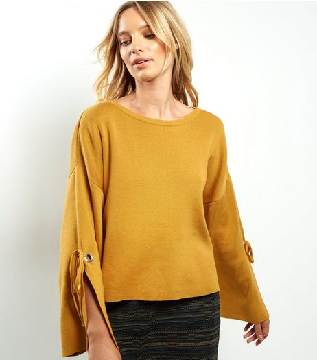 Yellow Wide Split Sleeve Jumper  | New Look