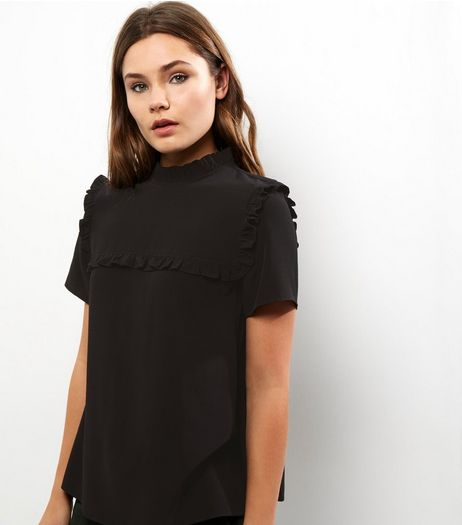 Black Yoke Frill Trim Short Sleeve Top  | New Look