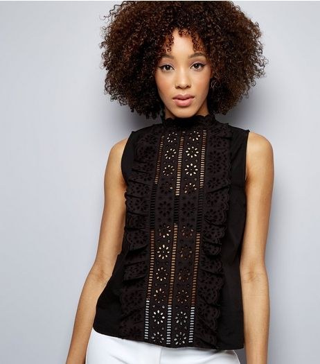 Black Lace Frill Trim Sleeveless Top  | New Look