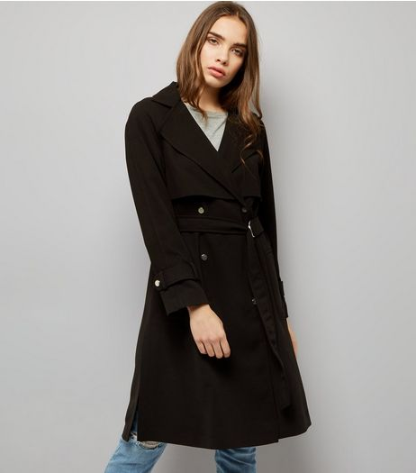 Black Waterfall Belted Trench Coat  | New Look