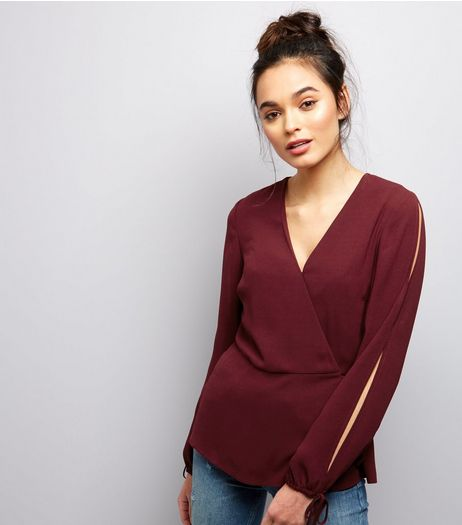 Burgundy Tie Sleeve Wrap Front Top  | New Look
