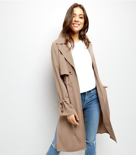 Mink Flared Sleeve Trench Coat  | New Look