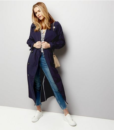 Navy Button Front Belted Trench Coat  | New Look