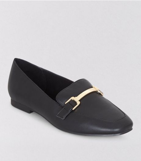 Wide Fit Black Metal Bar Loafers | New Look